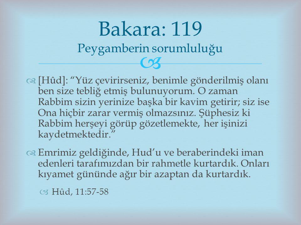 Bakara: 119 Peygamberin sorumluluğu
