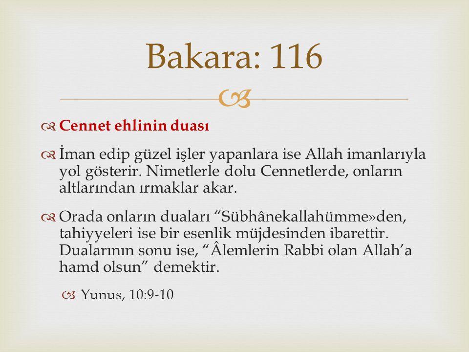 Bakara: 116 Cennet ehlinin duası