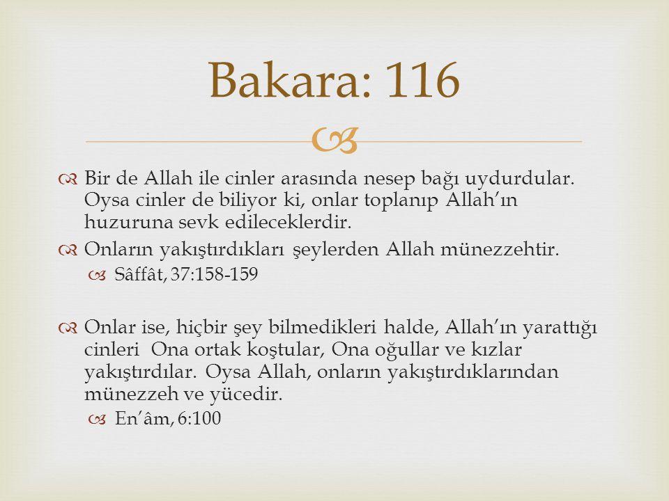Bakara: 116 Bir de Allah ile cinler arasında nesep bağı uydurdular. Oysa cinler de biliyor ki, onlar toplanıp Allah'ın huzuruna sevk edileceklerdir.