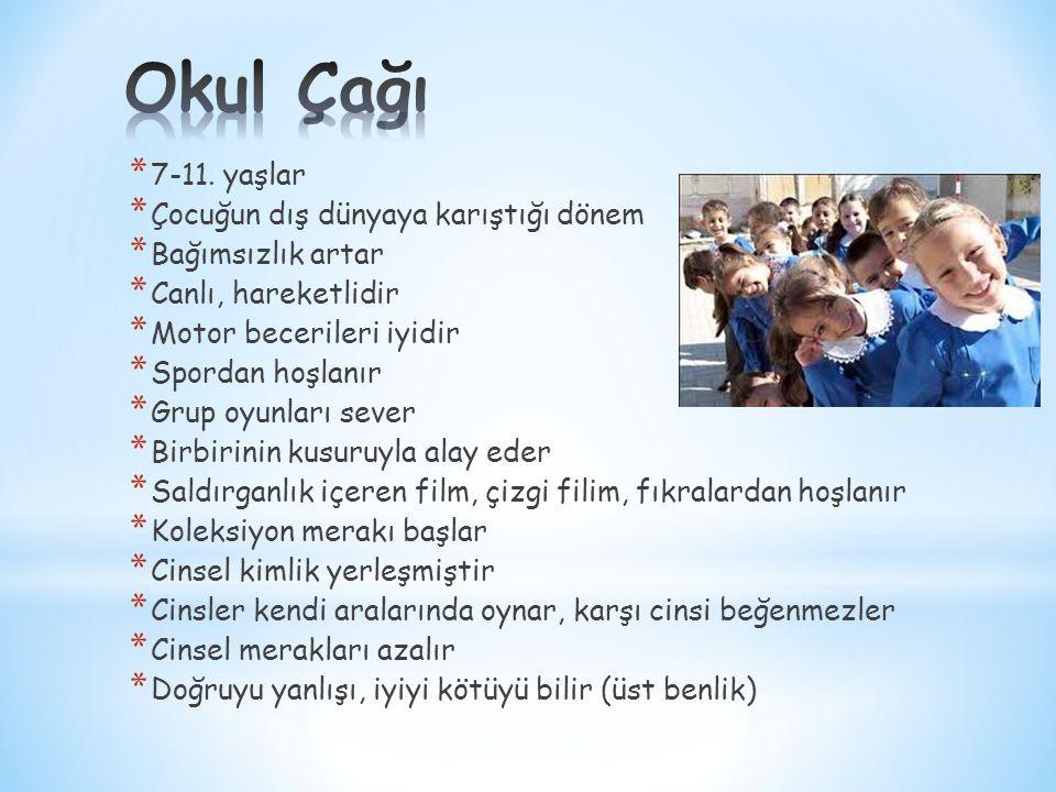 Okul Çağı 7-11. yaşlar Çocuğun dış dünyaya karıştığı dönem