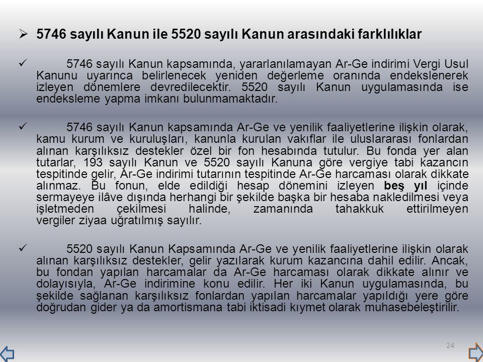 5746 sayılı Kanun ile 5520 sayılı Kanun arasındaki farklılıklar