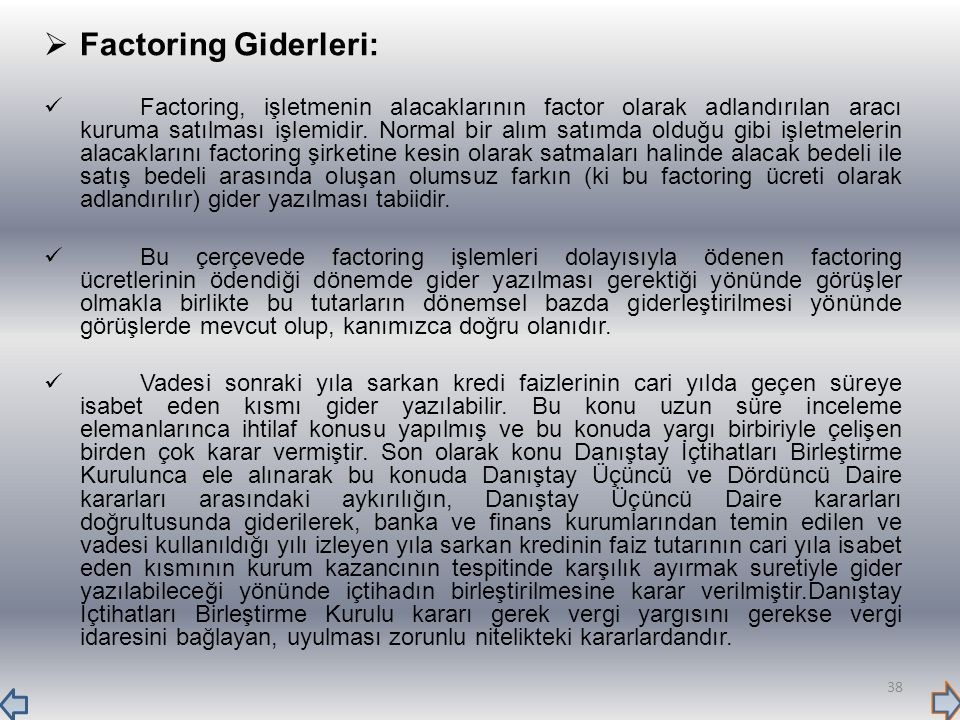 Factoring Giderleri: