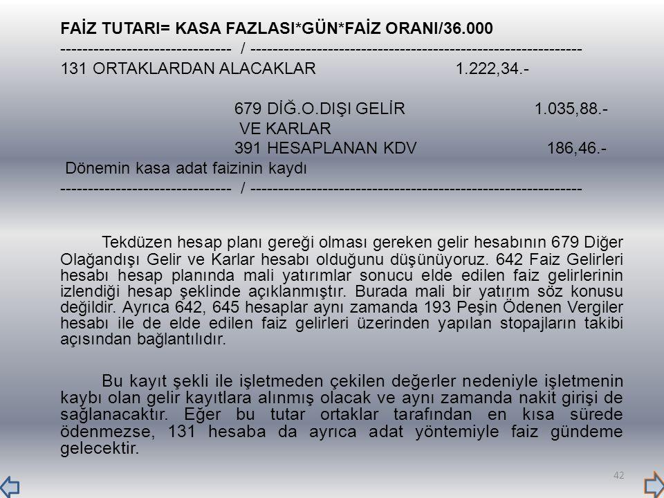 FAİZ TUTARI= KASA FAZLASI*GÜN*FAİZ ORANI/36.000