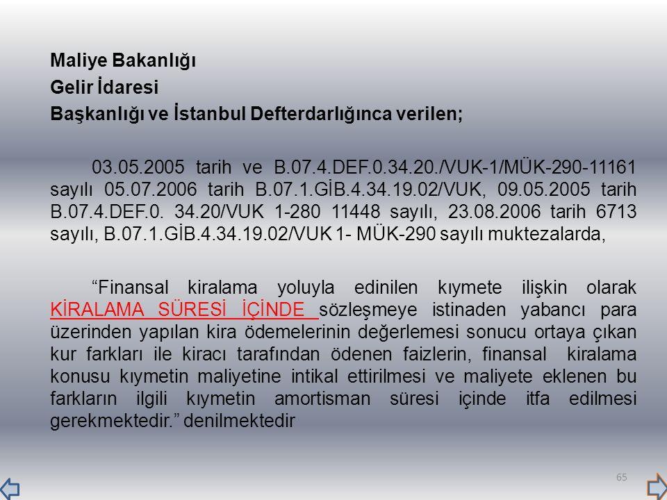 Maliye Bakanlığı Gelir İdaresi Başkanlığı ve İstanbul Defterdarlığınca verilen; 03.05.2005 tarih ve B.07.4.DEF.0.34.20./VUK-1/MÜK-290-11161 sayılı 05.07.2006 tarih B.07.1.GİB.4.34.19.02/VUK, 09.05.2005 tarih B.07.4.DEF.0.