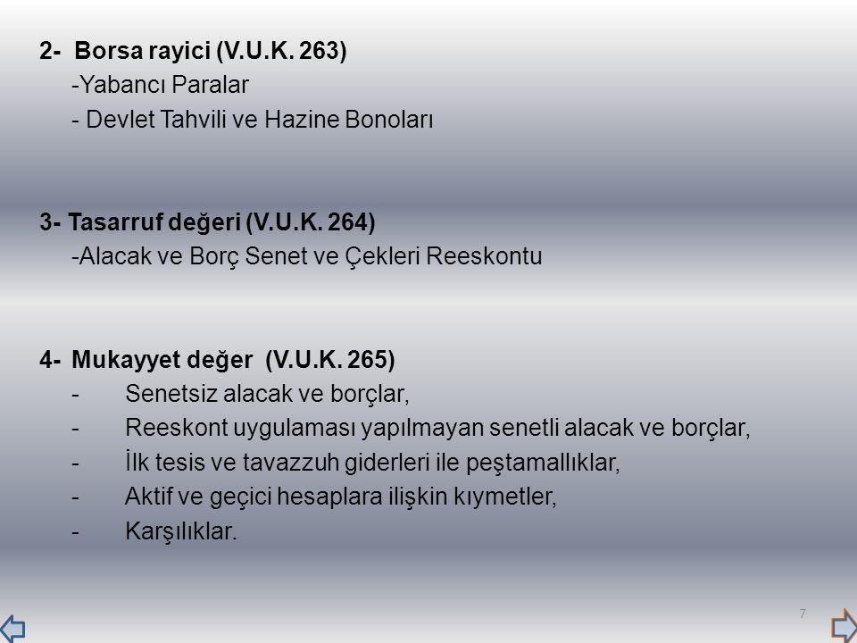 2- Borsa rayici (V.U.K. 263) -Yabancı Paralar. - Devlet Tahvili ve Hazine Bonoları. 3- Tasarruf değeri (V.U.K. 264)