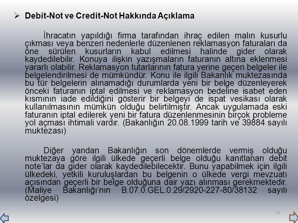 Debit-Not ve Credit-Not Hakkında Açıklama