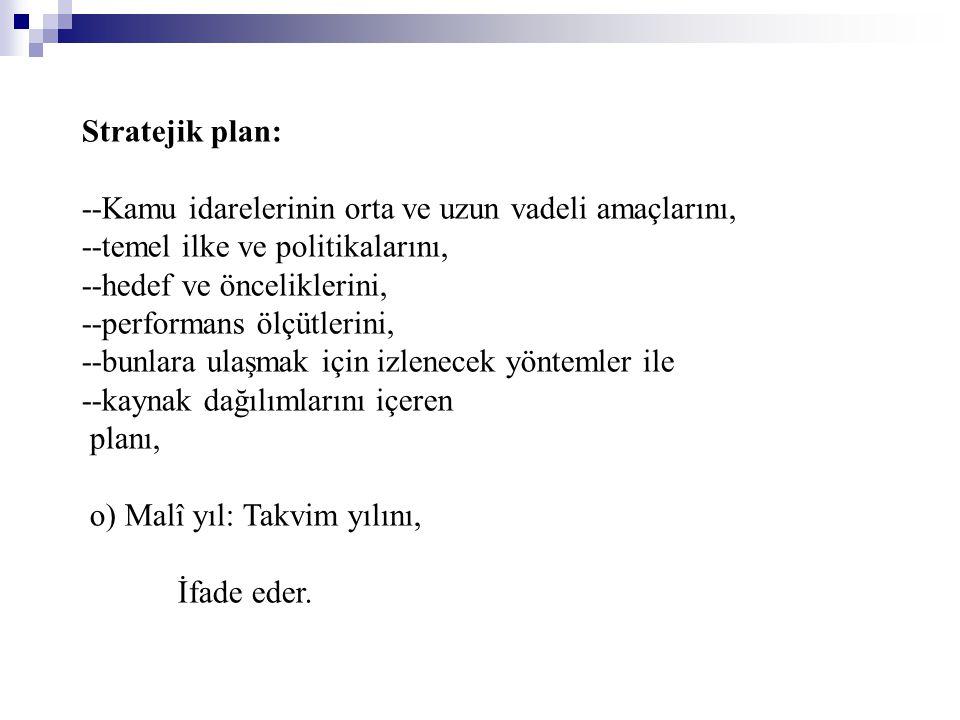 Stratejik plan: --Kamu idarelerinin orta ve uzun vadeli amaçlarını, --temel ilke ve politikalarını,