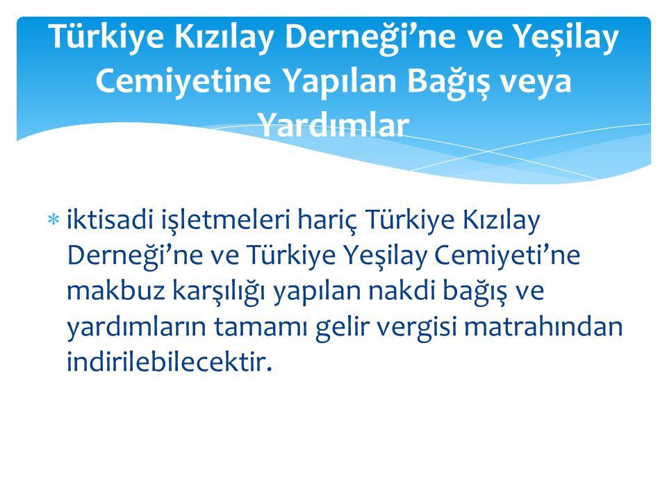 Türkiye Kızılay Derneği'ne ve Yeşilay Cemiyetine Yapılan Bağış veya Yardımlar