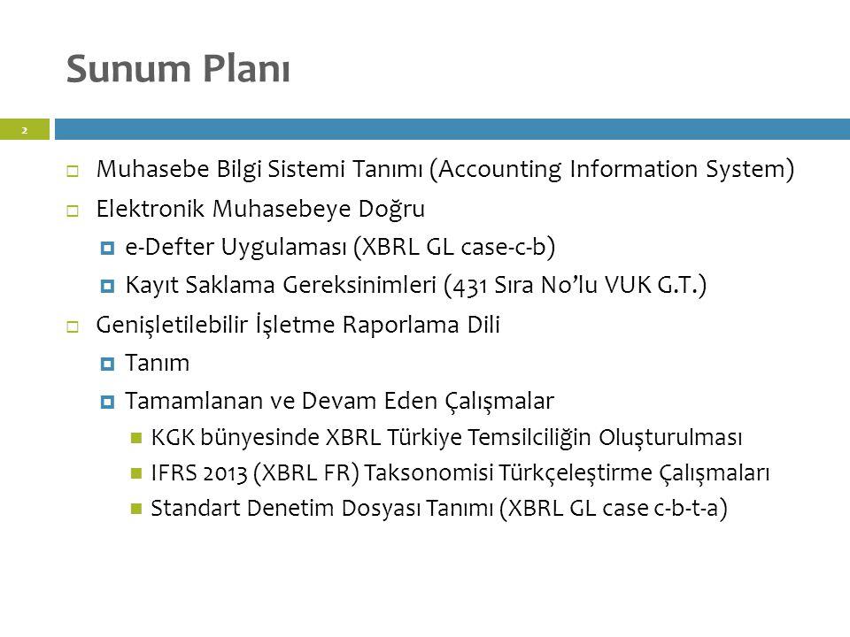 Sunum Planı Muhasebe Bilgi Sistemi Tanımı (Accounting Information System) Elektronik Muhasebeye Doğru.