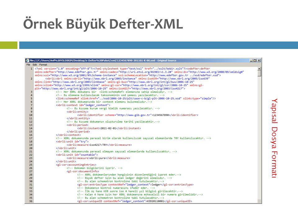 Örnek Büyük Defter-XML