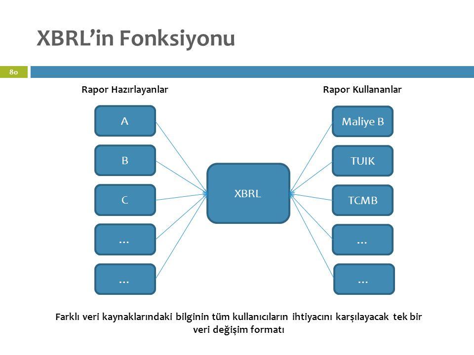 XBRL'in Fonksiyonu A Maliye B B TUIK XBRL C TCMB … … … …