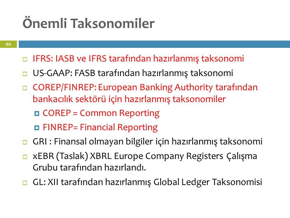 Önemli Taksonomiler IFRS: IASB ve IFRS tarafından hazırlanmış taksonomi. US-GAAP: FASB tarafından hazırlanmış taksonomi.