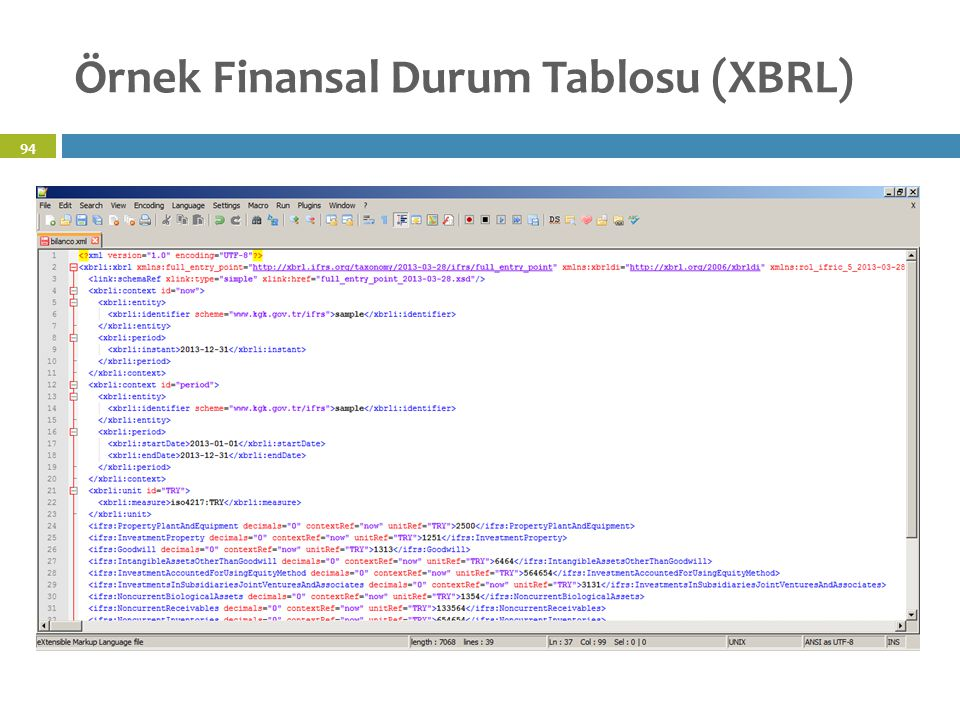 Örnek Finansal Durum Tablosu (XBRL)