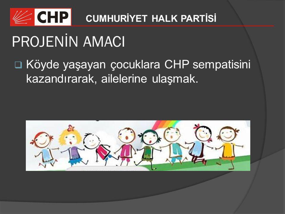PROJENİN AMACI Köyde yaşayan çocuklara CHP sempatisini kazandırarak, ailelerine ulaşmak.
