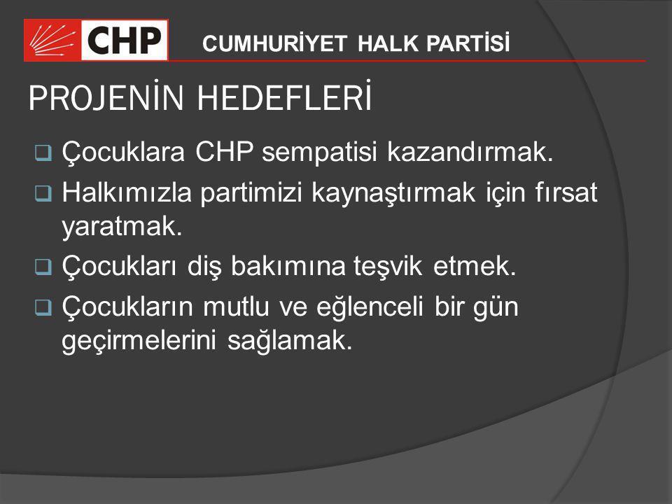 PROJENİN HEDEFLERİ Çocuklara CHP sempatisi kazandırmak.