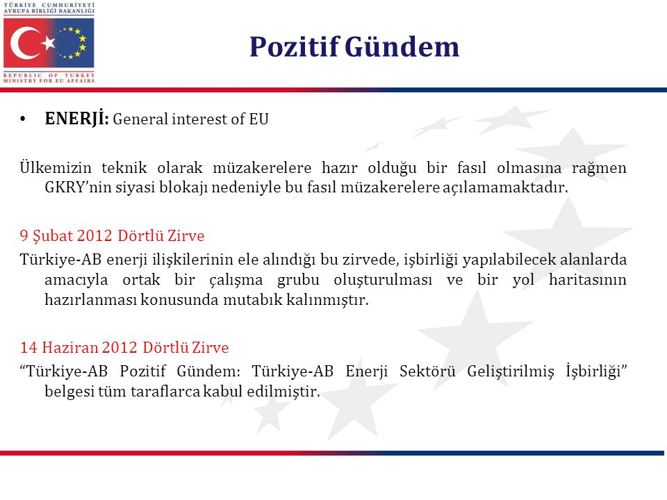 Pozitif Gündem ENERJİ: General interest of EU