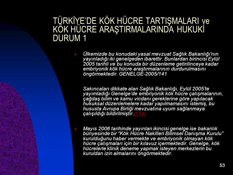 TÜRKİYE'DE KÖK HÜCRE TARTIŞMALARI ve KÖK HÜCRE ARAŞTIRMALARINDA HUKUKİ DURUM 1