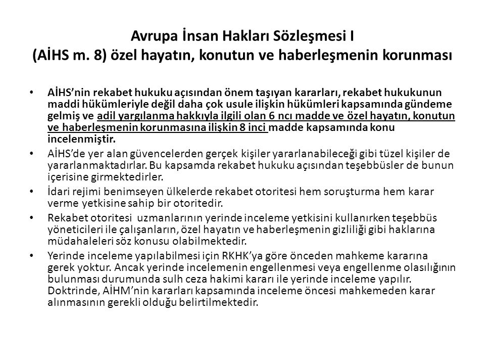 Avrupa İnsan Hakları Sözleşmesi I (AİHS m