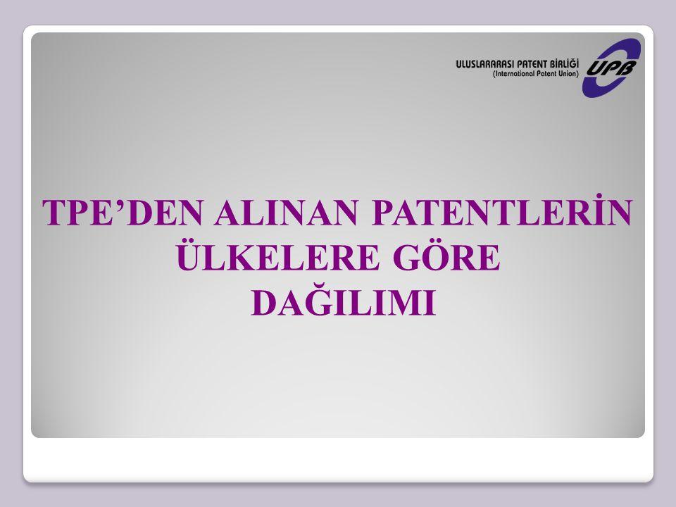 TPE'DEN ALINAN PATENTLERİN
