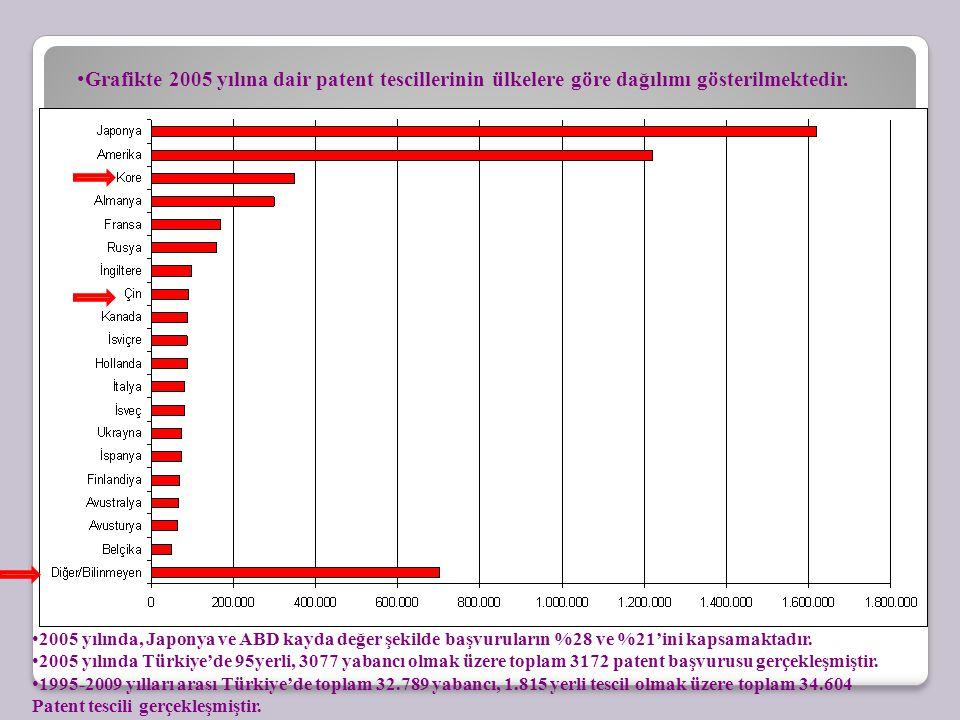 Grafikte 2005 yılına dair patent tescillerinin ülkelere göre dağılımı gösterilmektedir.