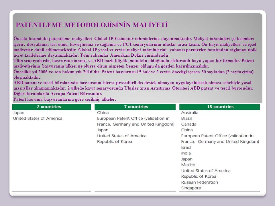 PATENTLEME METODOLOJİSİNİN MALİYETİ