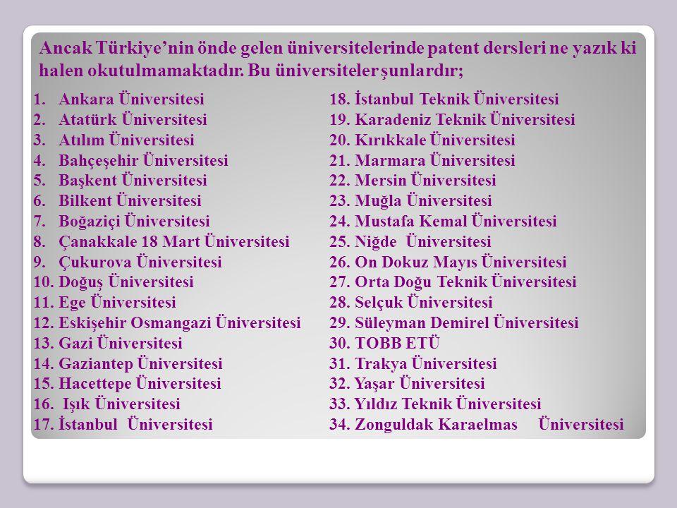 Ancak Türkiye'nin önde gelen üniversitelerinde patent dersleri ne yazık ki halen okutulmamaktadır. Bu üniversiteler şunlardır;