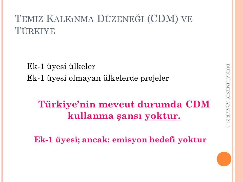 Temiz Kalkınma Düzeneği (CDM) ve Türkiye