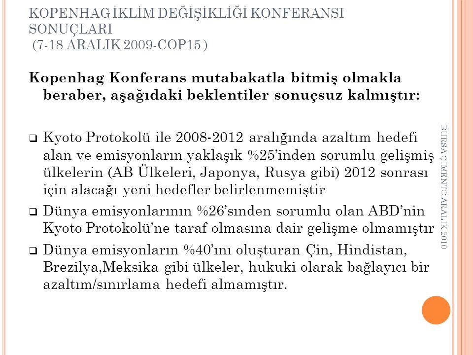 KOPENHAG İKLİM DEĞİŞİKLİĞİ KONFERANSI SONUÇLARI (7-18 ARALIK 2009-COP15 )