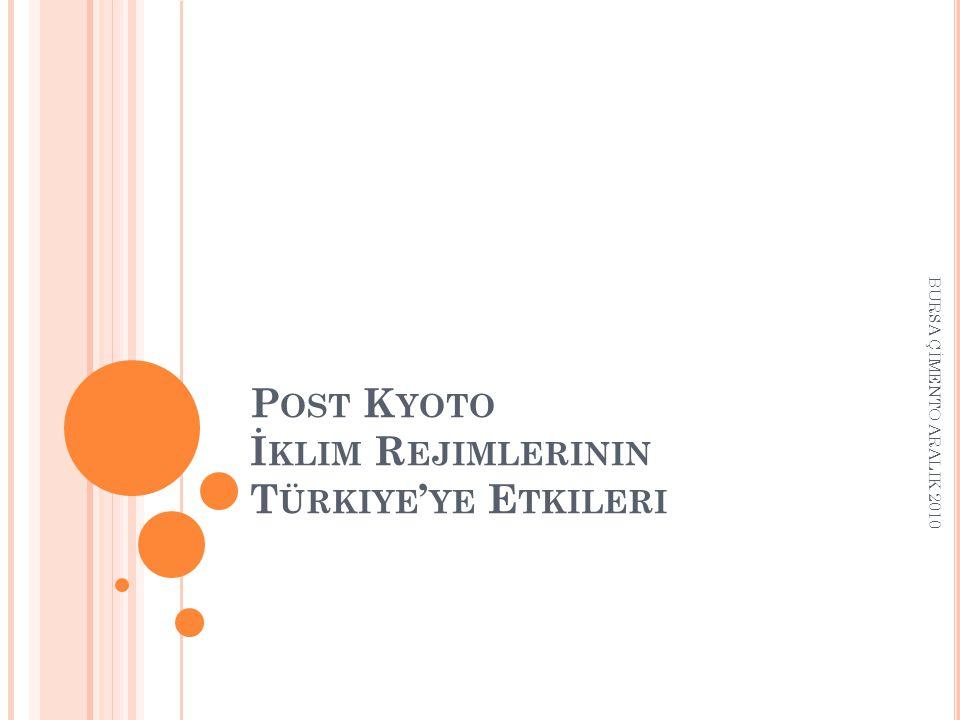 Post Kyoto İklim Rejimlerinin Türkiye'ye Etkileri