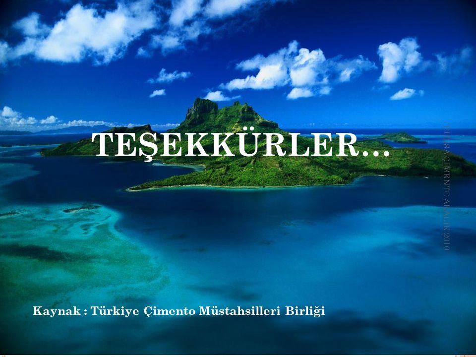 TEŞEKKÜRLER… Kaynak : Türkiye Çimento Müstahsilleri Birliği