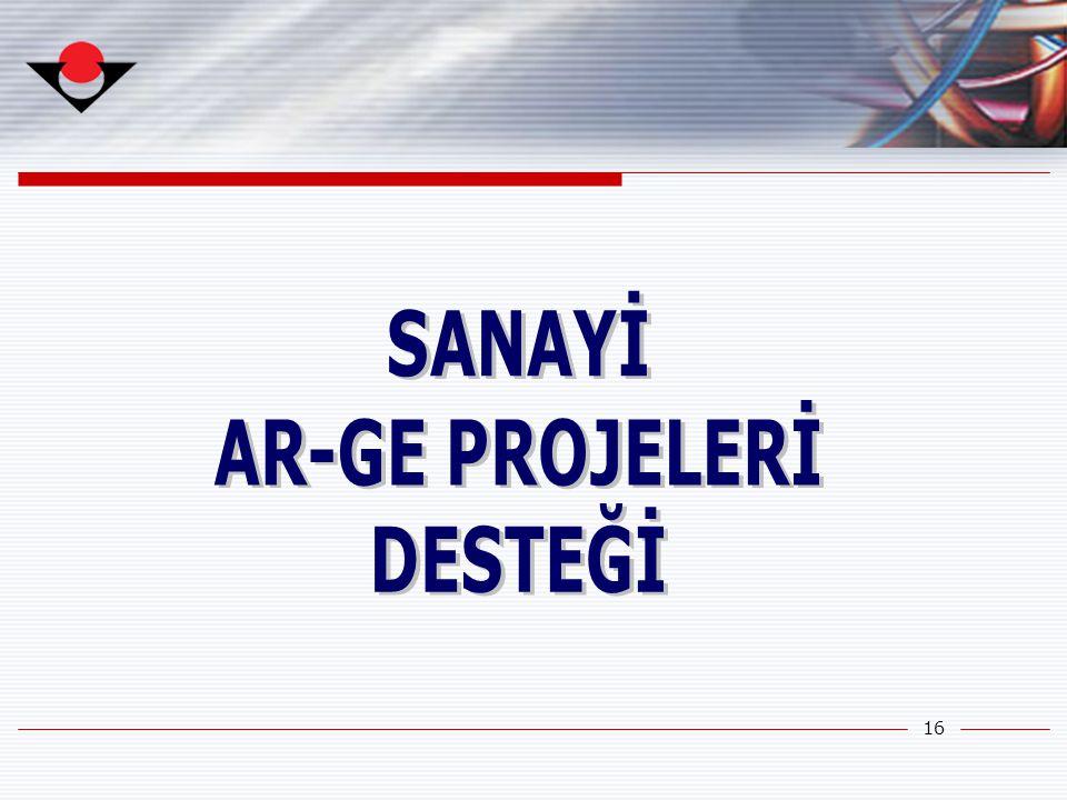 SANAYİ AR-GE PROJELERİ DESTEĞİ