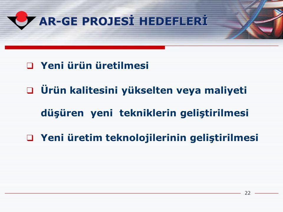 AR-GE PROJESİ HEDEFLERİ