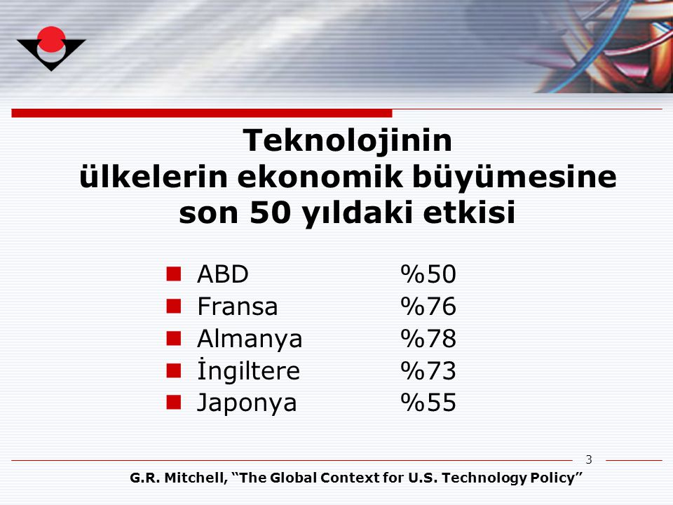Teknolojinin ülkelerin ekonomik büyümesine son 50 yıldaki etkisi