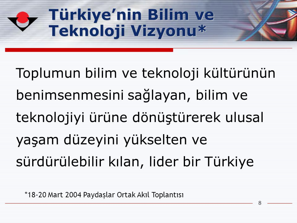 Türkiye'nin Bilim ve Teknoloji Vizyonu*