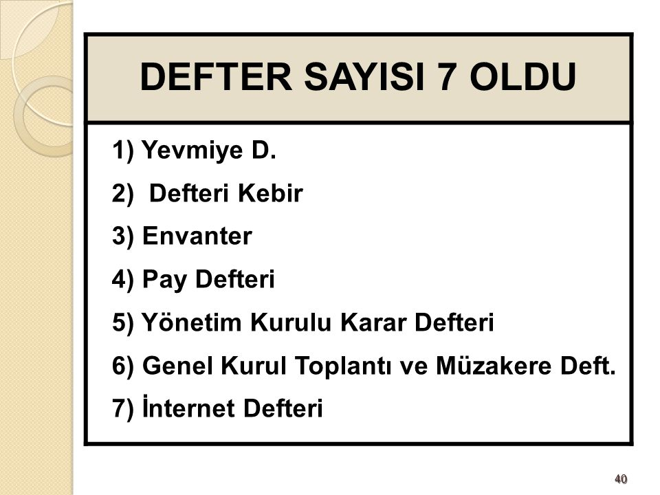 DEFTER SAYISI 7 OLDU 1) Yevmiye D. 2) Defteri Kebir 3) Envanter