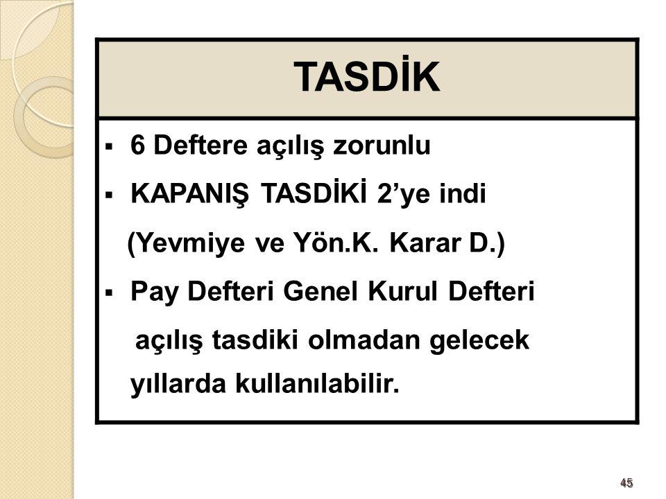 TASDİK 6 Deftere açılış zorunlu KAPANIŞ TASDİKİ 2'ye indi