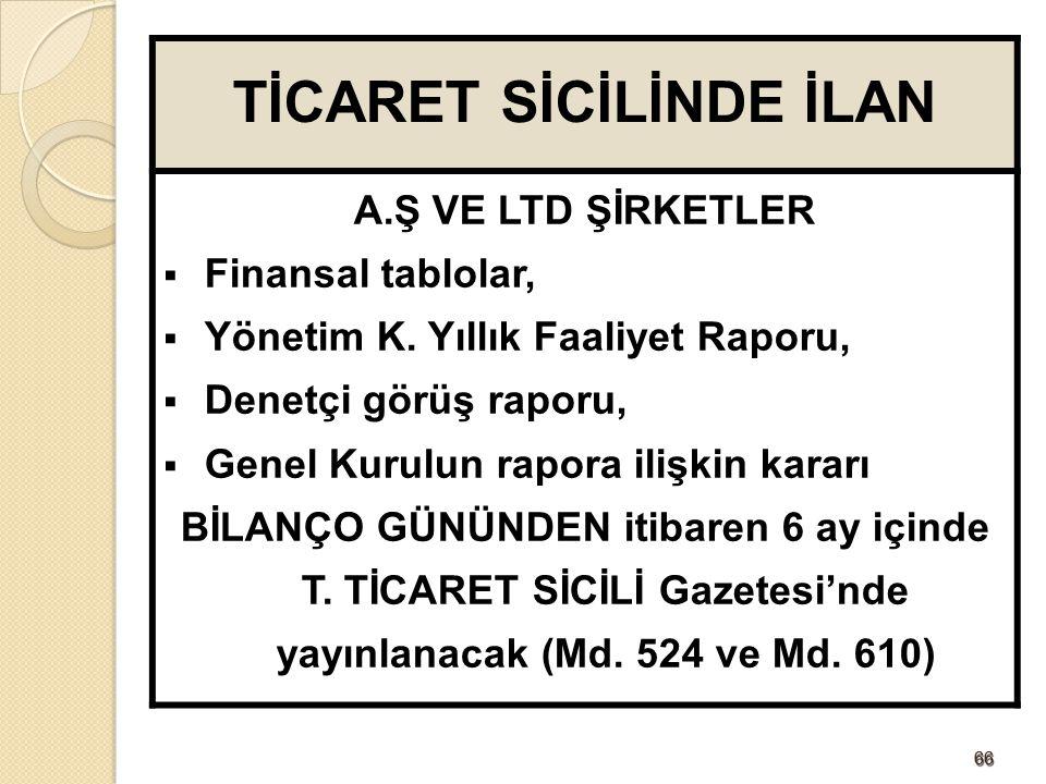 TİCARET SİCİLİNDE İLAN