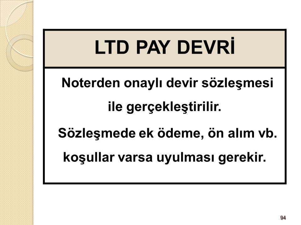 LTD PAY DEVRİ Noterden onaylı devir sözleşmesi ile gerçekleştirilir.