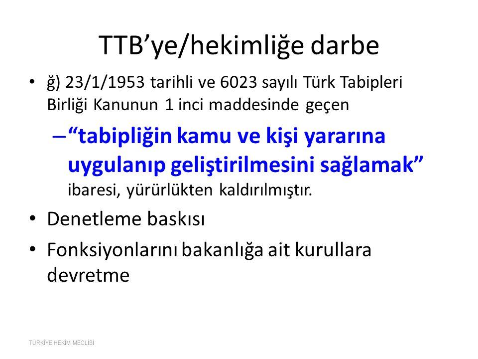TTB'ye/hekimliğe darbe