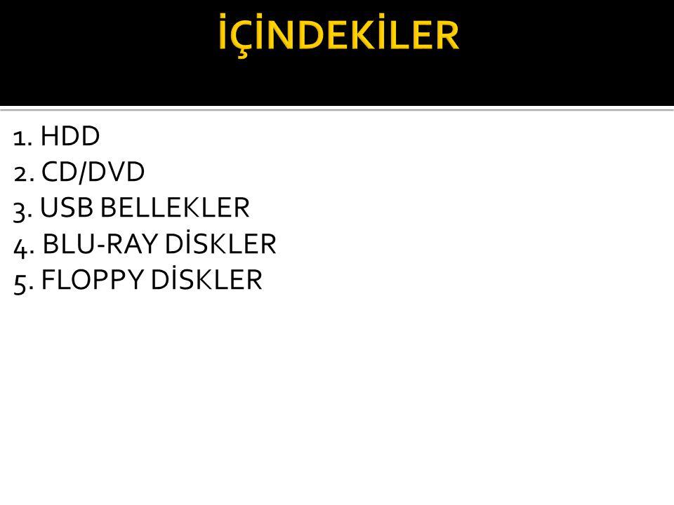 İÇİNDEKİLER 1. HDD 2. CD/DVD 3. USB BELLEKLER 4. BLU-RAY DİSKLER 5. FLOPPY DİSKLER