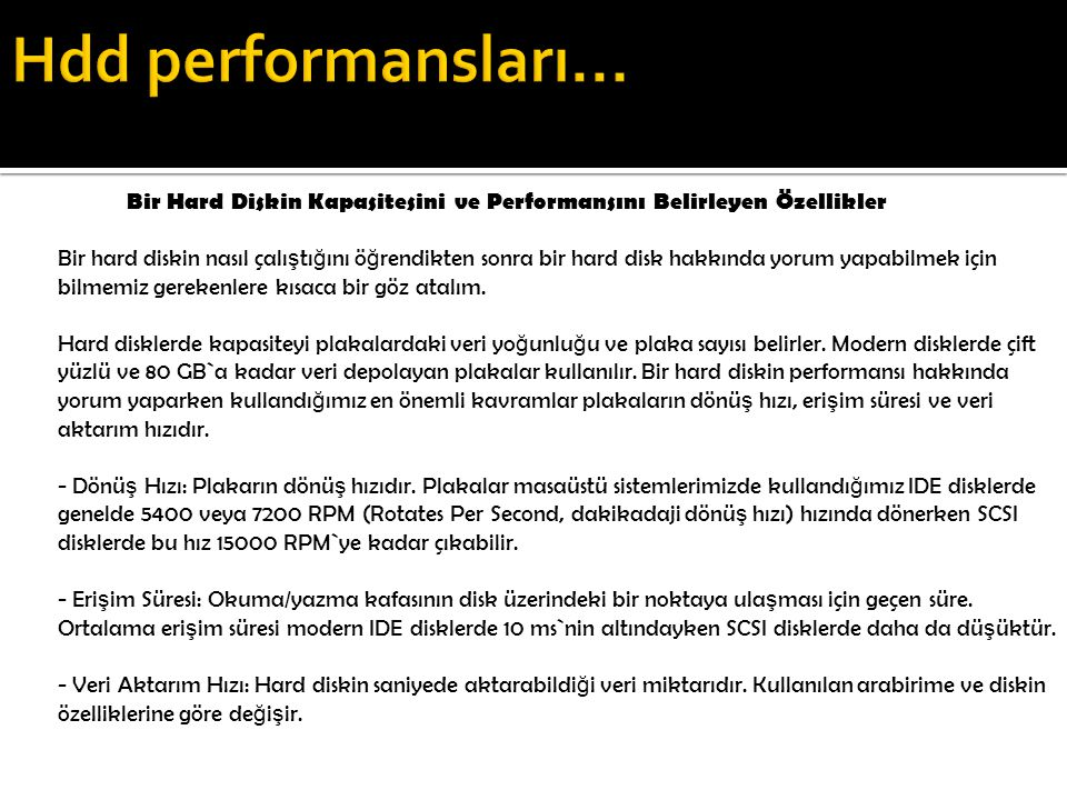 Hdd performansları...