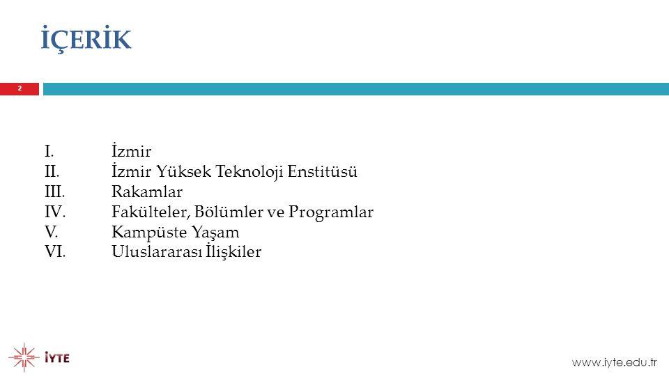 İÇERİK I. İzmir İzmir Yüksek Teknoloji Enstitüsü III. Rakamlar