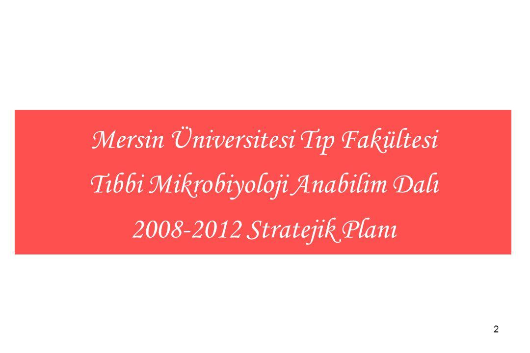 Mersin Üniversitesi Tıp Fakültesi Tıbbi Mikrobiyoloji Anabilim Dalı 2008-2012 Stratejik Planı
