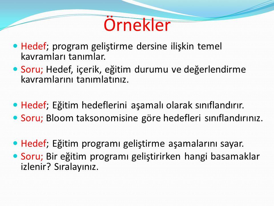 Örnekler Hedef; program geliştirme dersine ilişkin temel kavramları tanımlar.