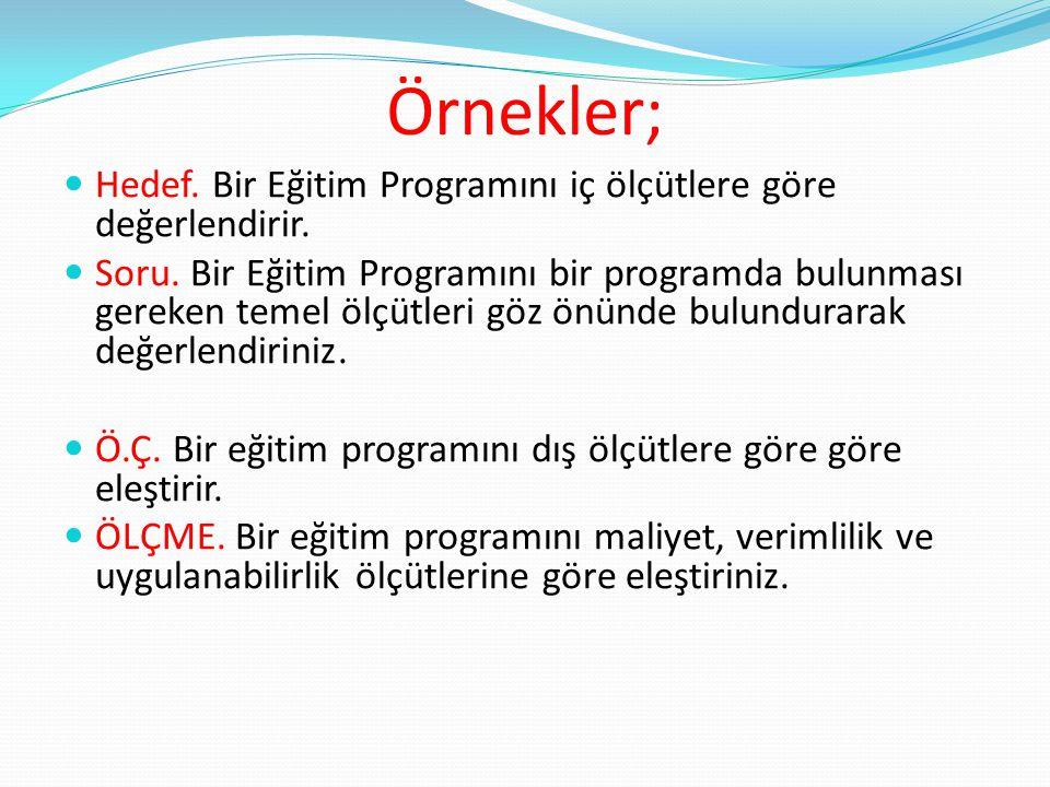 Örnekler; Hedef. Bir Eğitim Programını iç ölçütlere göre değerlendirir.