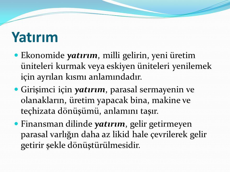 Yatırım Ekonomide yatırım, milli gelirin, yeni üretim üniteleri kurmak veya eskiyen üniteleri yenilemek için ayrılan kısmı anlamındadır.