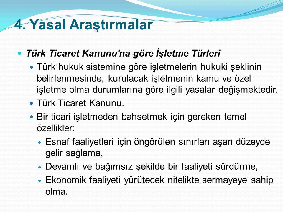 4. Yasal Araştırmalar Türk Ticaret Kanunu na göre İşletme Türleri