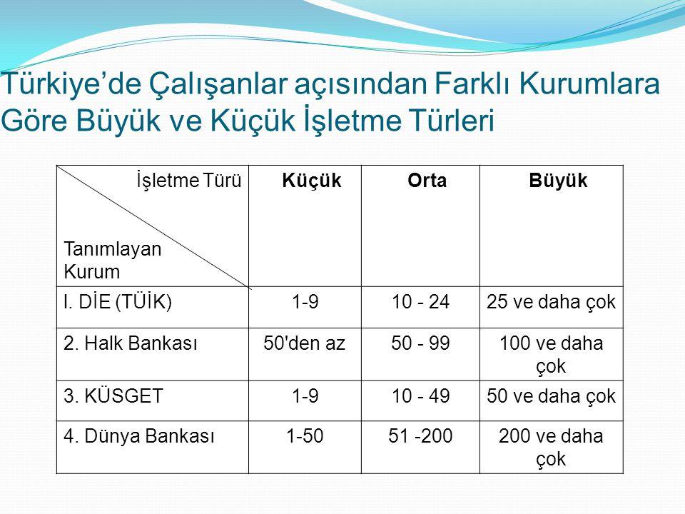 Türkiye'de Çalışanlar açısından Farklı Kurumlara Göre Büyük ve Küçük İşletme Türleri