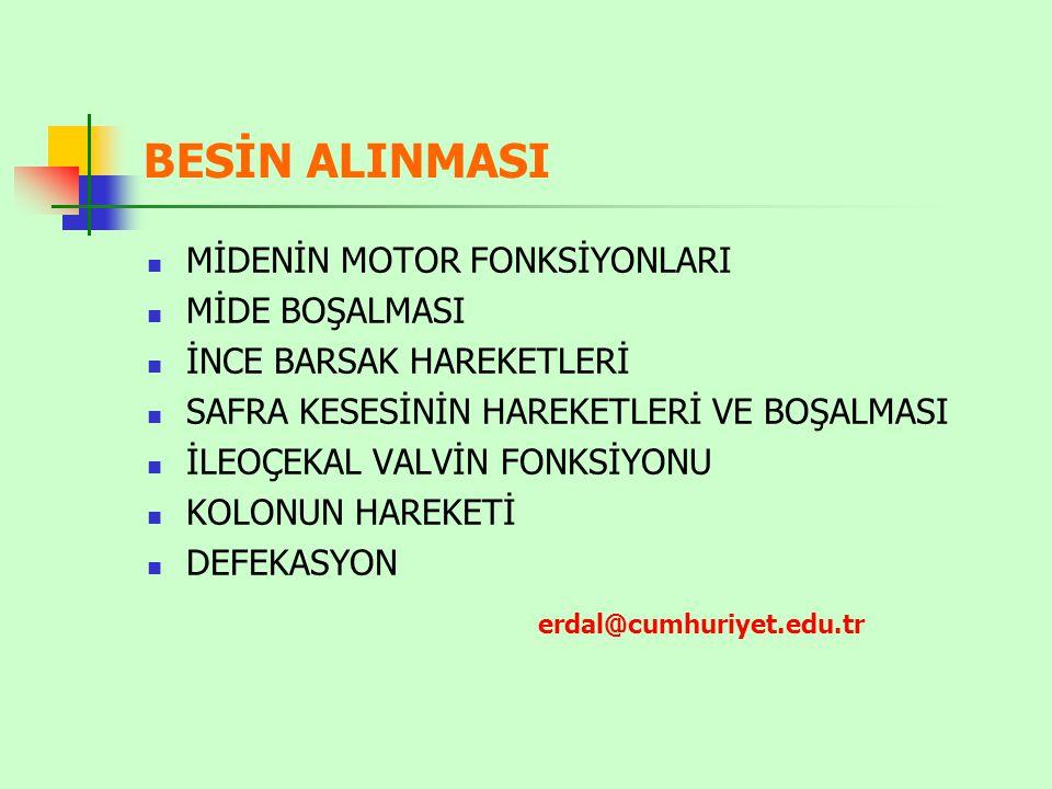 BESİN ALINMASI MİDENİN MOTOR FONKSİYONLARI MİDE BOŞALMASI