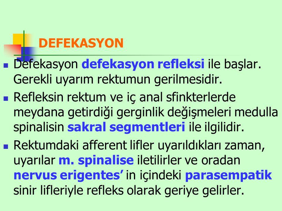 DEFEKASYON Defekasyon defekasyon refleksi ile başlar. Gerekli uyarım rektumun gerilmesidir.